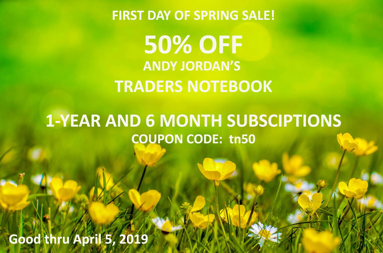 Andy Jordan Educator for Futures Trading Strategies on Spreads, Options, Swing/Day Trading offers 50% off of Traders Notebook